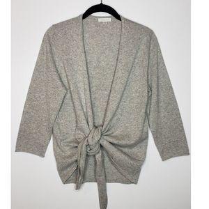 Garnet Hill Cashmere Metallic Tie Front Sweater